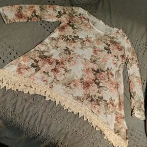 Pink Blush Lace Trimmed Floral Top